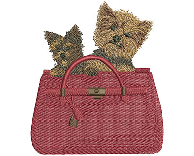 Embroidery Design: Dogs In Bag Lg 3.91w X 4.48h