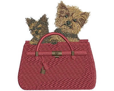 Embroidery Design: Dogs In Bag Sm 3.04w X 3.48h