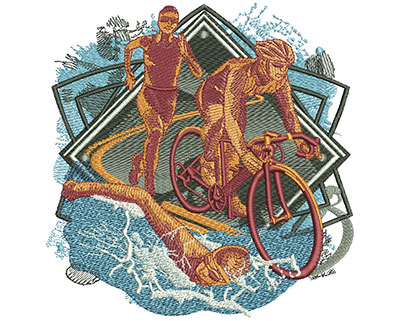 Embroidery Design: Triathlon Collage Lg 5.87w X 6.00h
