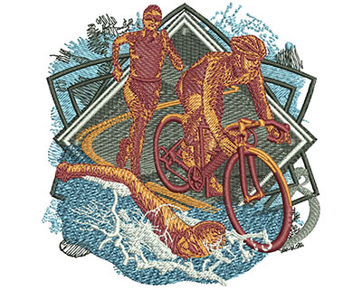Embroidery Design: Triathlon Collage Sm 3.91w X 4.00h