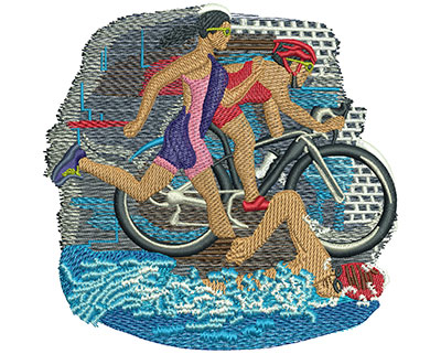 Embroidery Design: Triathlon Trio Lg 4.51w X 4.41h