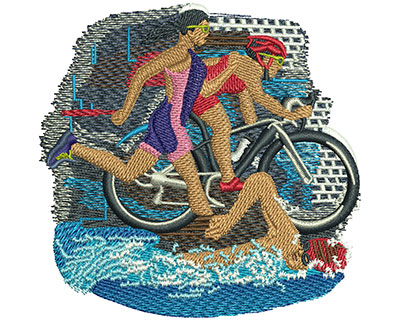Embroidery Design: Triathlon Trio Sm 4.51w X 4.41h