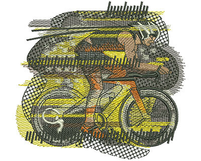 Embroidery Design: Bike Race Lg 4.55w X 4.23h