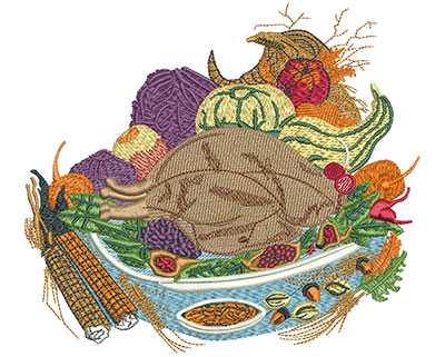 Embroidery Design: Thanksgiving Food Lg 5.31h X 5.99w