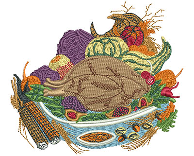 Embroidery Design: Thanksgiving Food Sm 3.55h X 4.01w