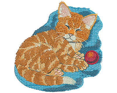 Embroidery Design: Kitten With Ball Lg 4.32w X 4.48h
