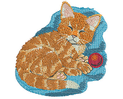 Embroidery Design: Kitten With Ball Med 3.84w X 3.96h