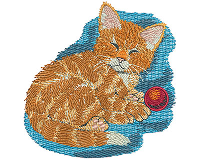 Embroidery Design: Kitten With Ball Sm 3.46w X 3.56h