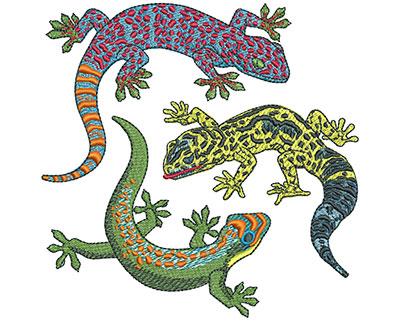 Embroidery Design: Three Geckos Lg 4.41w X 4.38h