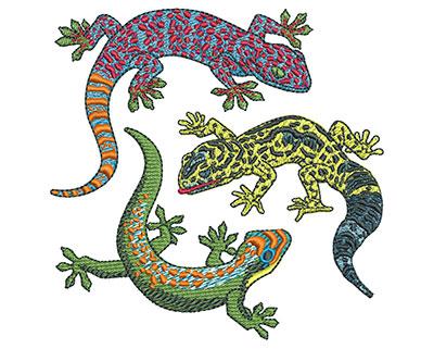 Embroidery Design: Three Geckos Med 3.91w X 3.89h