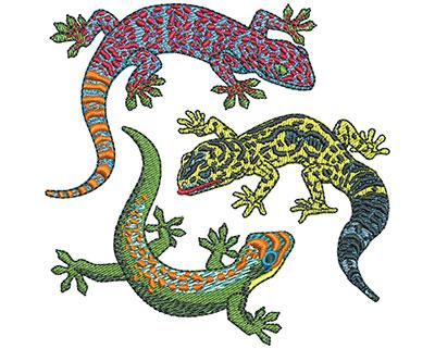 Embroidery Design: Three Geckos Sm 3.41w X 3.39h