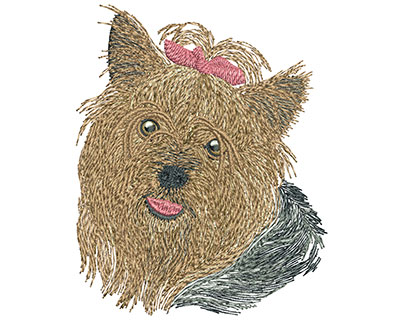 Embroidery Design: Yorkie Med 3.20w X 3.96h