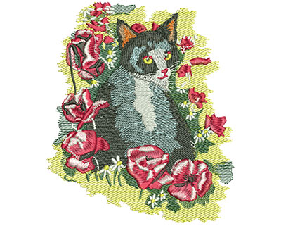 Embroidery Design: Cat And Flowers Lg 5.09w X 5.98h
