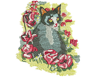 Embroidery Design: Cat And Flowers Med 4.26w X 5.00h