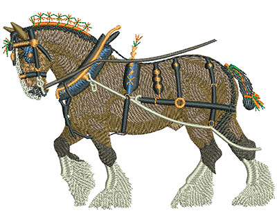 Embroidery Design: Shire Horse Lg 4.50w X 3.28h