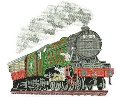 Embroidery Design: Steam Engine Lg 5.92w X 5.31h