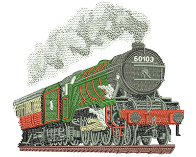 Embroidery Design: Steam Engine Med 4.92w X 4.42h