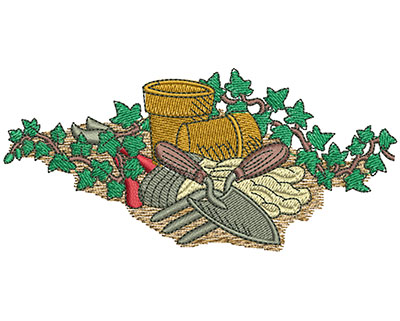 Embroidery Design: Flower Gardening Lg 4.52w X 2.09h