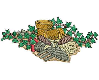 Embroidery Design: Flower Gardening Med 4.02w X 1.86h