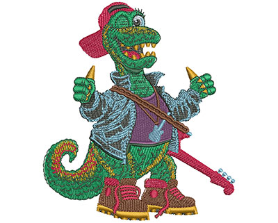 Embroidery Design: Rock N Roll Dino Lg 3.94w X 4.50h