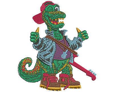 Embroidery Design: Rock N Roll Dino Med 3.50w X 4.00h