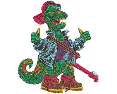 Embroidery Design: Rock N Roll Dino Sm 3.06w X 3.50h