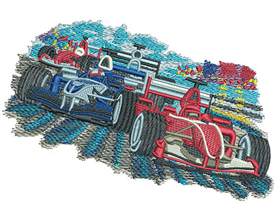 Embroidery Design: Car Racing Lg 6.04w X 4.04h