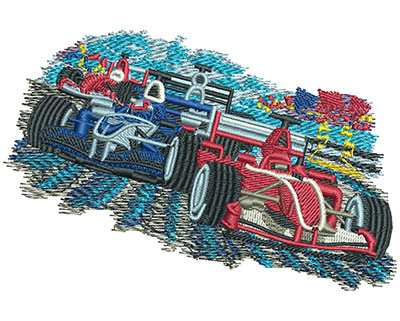 Embroidery Design: Car Racing Sm 4.05w X 2.68h