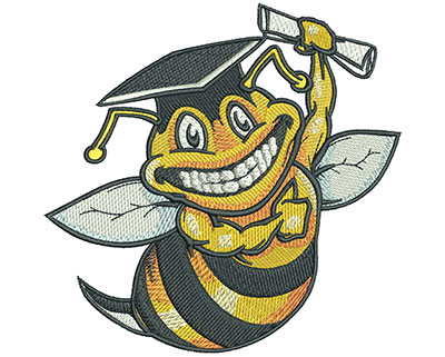 Embroidery Design: Graduation Bee Lg4.52w X 4.43h