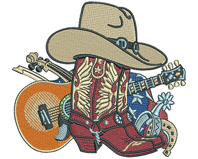 Embroidery Design: Cowboy Boot Collage Lg4.51w X 4.05h