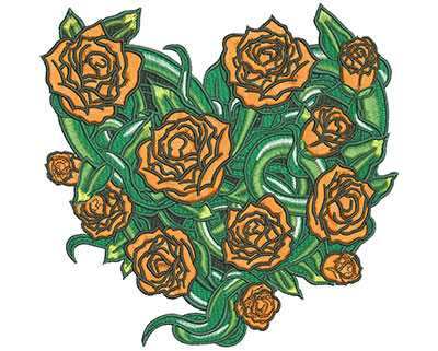 Embroidery Design: Heart Rose Vine Lg 6.20w X 5.96h