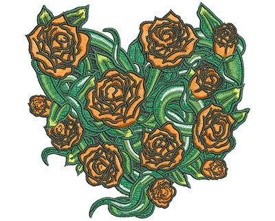 Embroidery Design: Heart Rose Vine Sm 4.20w X 4.04h