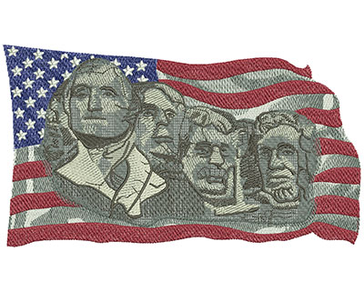 Embroidery Design: Mount Rushmore Lg 7.97w X 4.51h