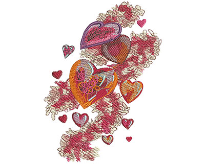 Embroidery Design: Hearts & Ribbons Med 3.70w X 4.99h