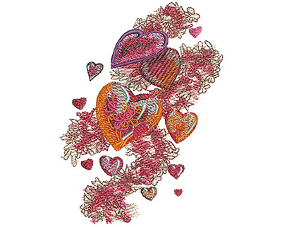 Embroidery Design: Hearts & Ribbons Sm 2.94w X 3.99h