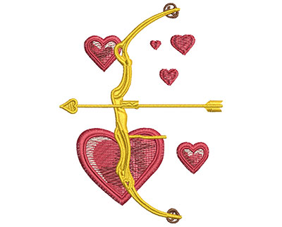 Embroidery Design: Valentine Bow & Arrow Med 2.94w X 3.98h