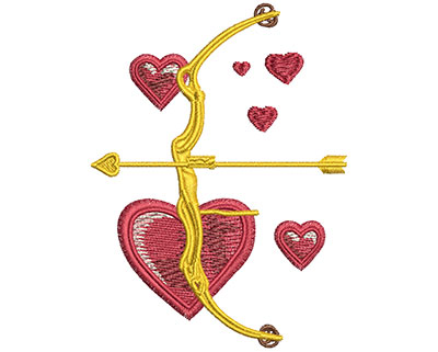 Embroidery Design: Valentine Bow & Arrow Sm 2.57w X 3.47h