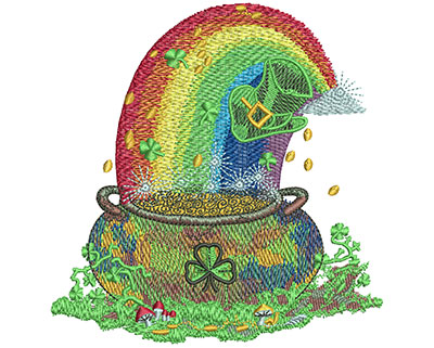 Embroidery Design: Pot Of Gold Lg 4.39w X 4.51h