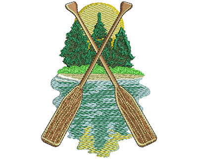 Embroidery Design: Camp Oars Lg 2.78w X 3.74h