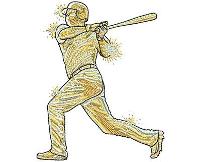 Embroidery Design: Gold Baseball Lg 2.85w X 3.54h