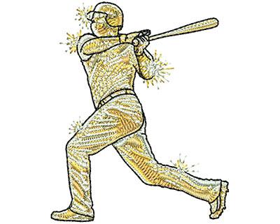 Embroidery Design: Gold Baseball Sm 2.05w X 2.54h