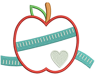 Embroidery Design: Apple Measure 5.96w X 4.54h