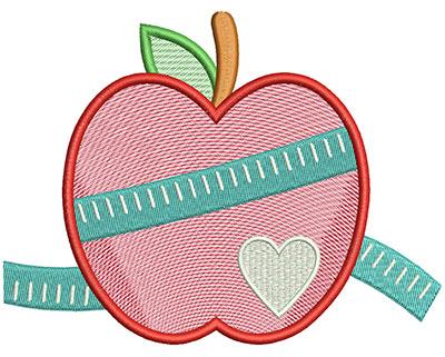 Embroidery Design: Apple Measure Mylar 5.96w X 4.54h