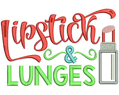 Embroidery Design: Lipstick & Lunges 6.52w X 4.33h