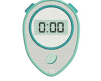 Embroidery Design: Stopwatch Mylar 4.51w X 6.30h
