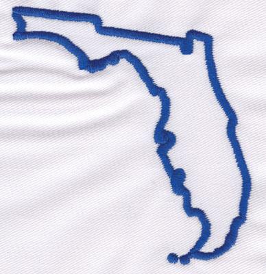 "Embroidery Design: Florida Outline3.46"" x 3.44"""