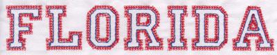 "Embroidery Design: Florida Name1.38"" x 7.97"""