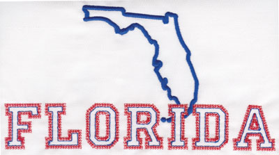 """Embroidery Design: Florida Outline and Name4.26"""" x 7.97"""""""