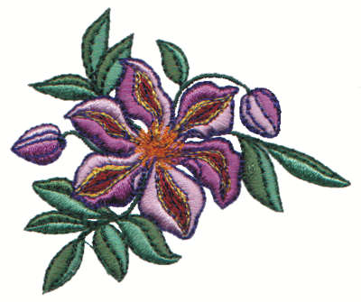 """Embroidery Design: Purple Flower and Buds3.00"""" x 2.58"""""""