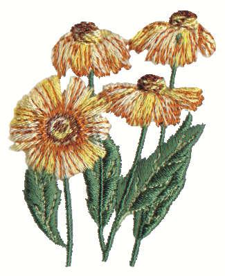 "Embroidery Design: Stylized Sun Flowers1.93"" x 2.59"""